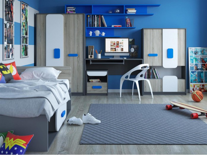 Youth Room JOGO.01 (5 pcs) Grey/ Oak / White / Blue