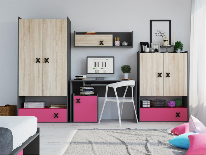 Youth Room ICS .02 (5 pcs) Anthracite/ Oak cream/ pink
