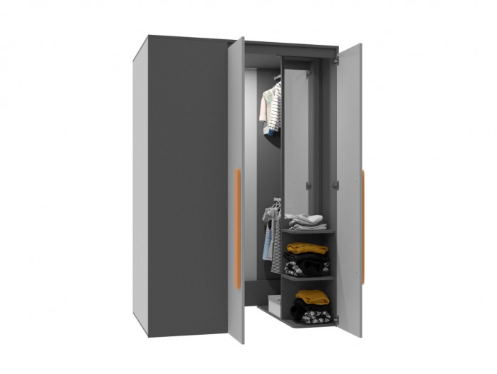 Walk-in closet Right Anthracite / Grey / Orange