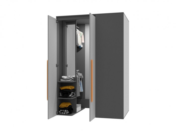 Begehbarer Kleiderschrank Play Links Anthrazit/Grau/Orange