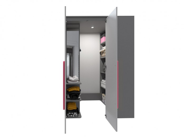 Walk-in closet Left Anthracite / Grey / Pink