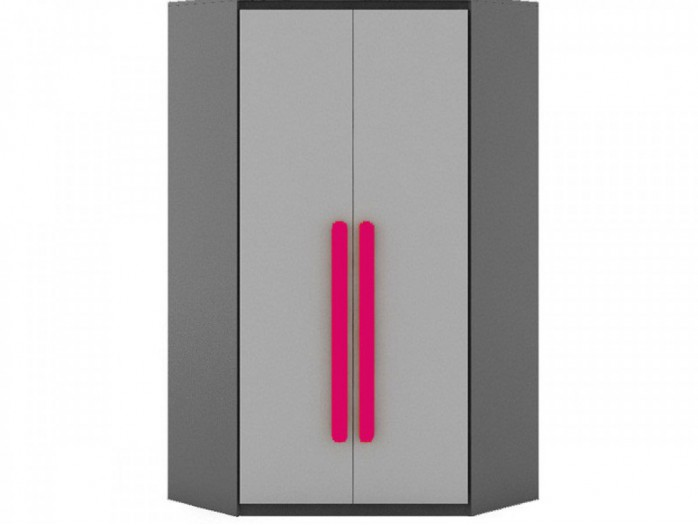Corner wardrobe Play  Anthracite / Grey/ Pink