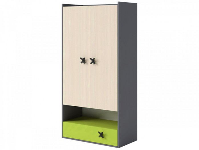 Wardrobe IKS Anthracite / Oak Creme/ Green