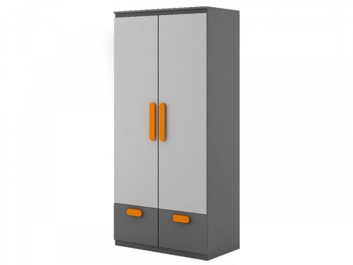 Kleiderschrank Play Anthrazit/Grau/Orange