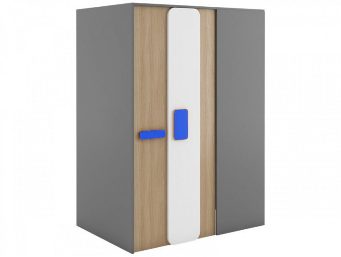 Walk-in closet 130 cm left Grey/ Oak / Blue