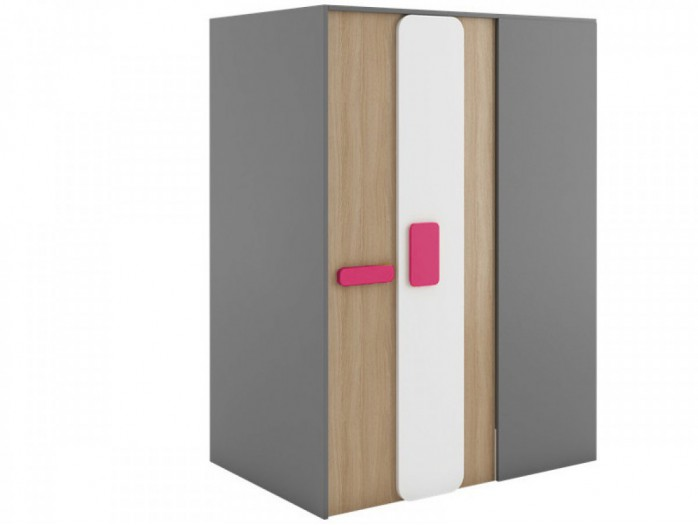 Walk-in closet 130 cm left Grey/ Oak / Pink