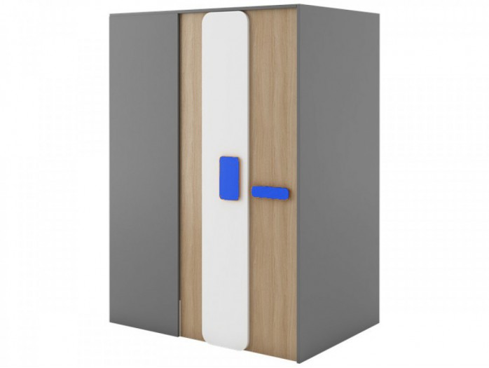 Walk-in closet 130 cm right Grey/ Oak / Blue