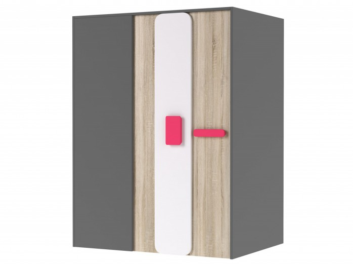 Walk-in closet 130 cm right Grey/ Oak / Pink