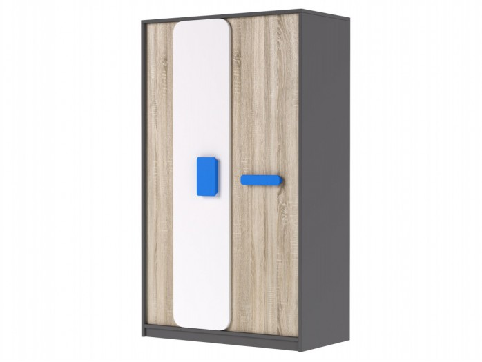 Wardrobe JOGO in Grey / oak / White/ Blue