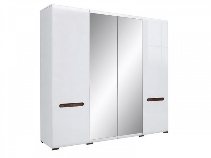 Wardrobe Azteca with 2 doors and 2 mirror doors white/white with gloss front