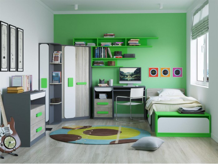 Youth Room JOGO.02 (7 pcs) Gray / oak / White / Green