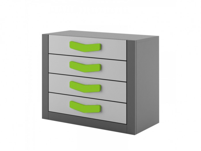 Chest  Boomerang with 4 drawers   Anthracite / Grey / Green