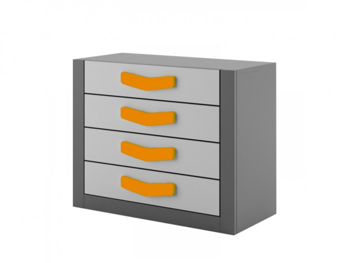 Chest  Boomerang with 4 drawers   Anthracite / Grey / Orange