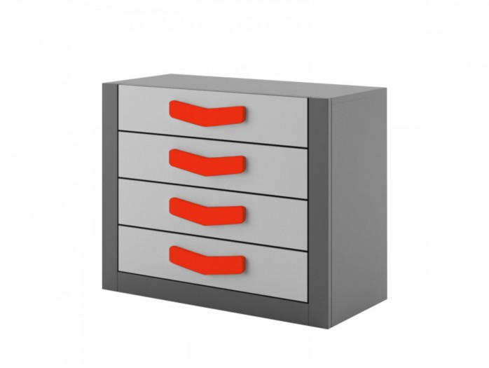 Chest  Boomerang with 4 drawers   Anthracite / Grey / Red