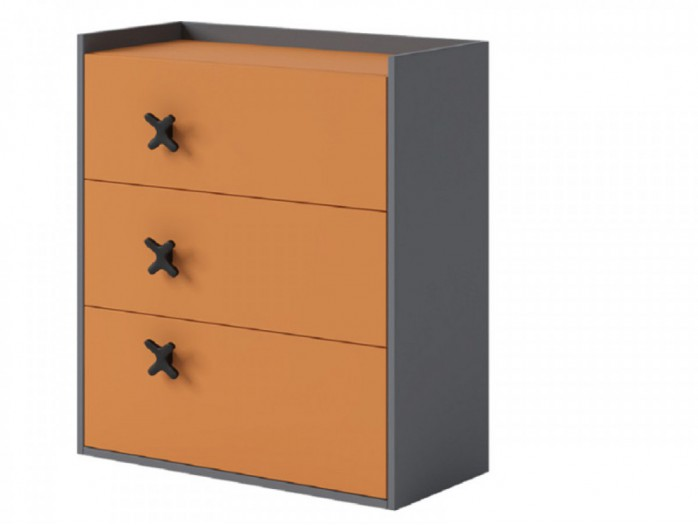 Chest IKS of 3 drawers Anthracite / Orange