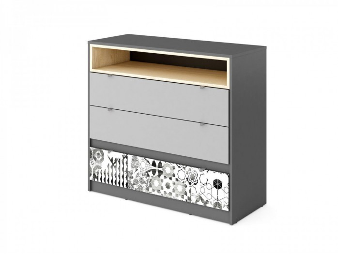Sideboard POKO  with3 drawers Anthracite / light gray