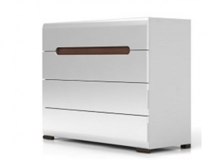 Dresser Azteca with 4 drawers white/white with gloss front
