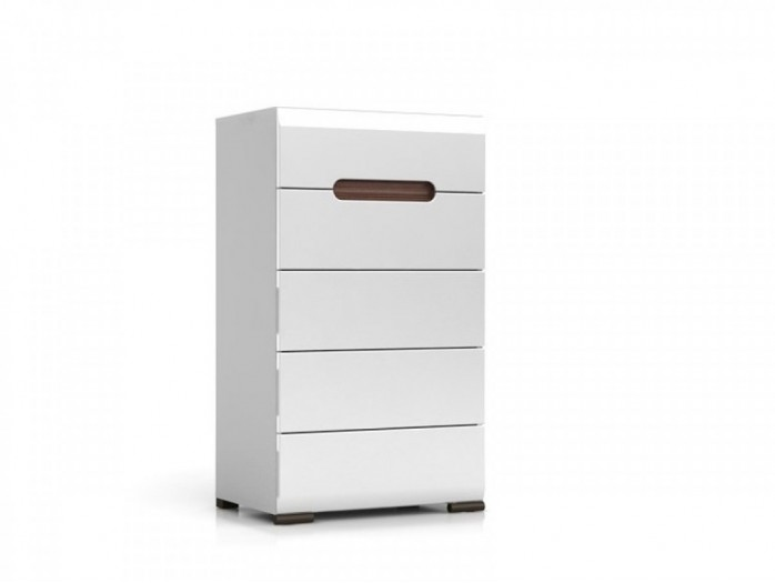 Dresser Azteca with 5 drawers white/white with gloss front