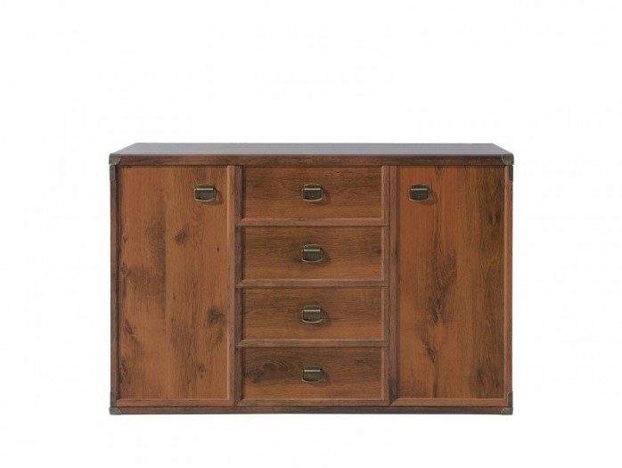 Dresser with 4 Drawers and 2 Doors  Indiana Oak