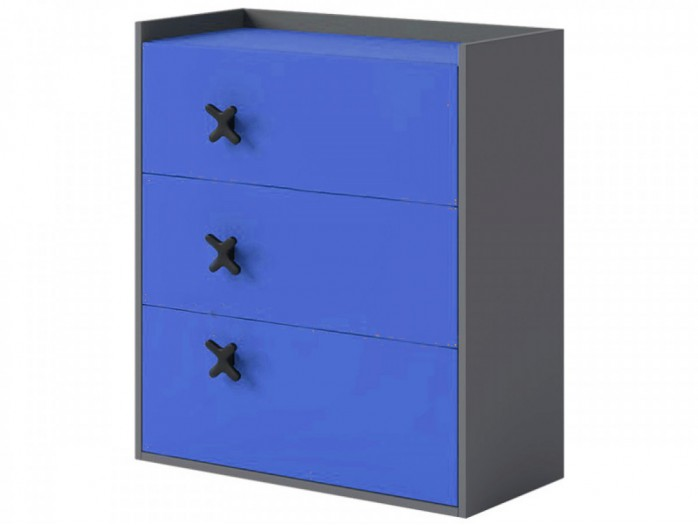 Chest IKS of 3 drawers Anthracite / Royal blue