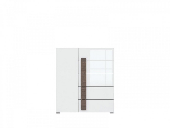 Chest White/ White High gloss with1 door and 5 drawers