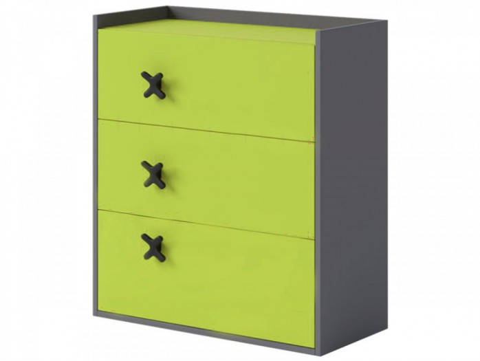 Chest IKS of 3 drawers Anthracite / Green.