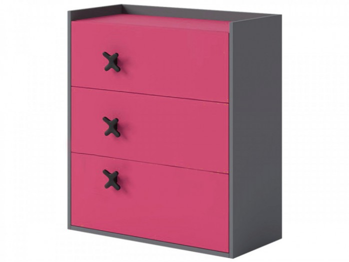 Chest IKS of 3 drawers Anthracite / Pink.