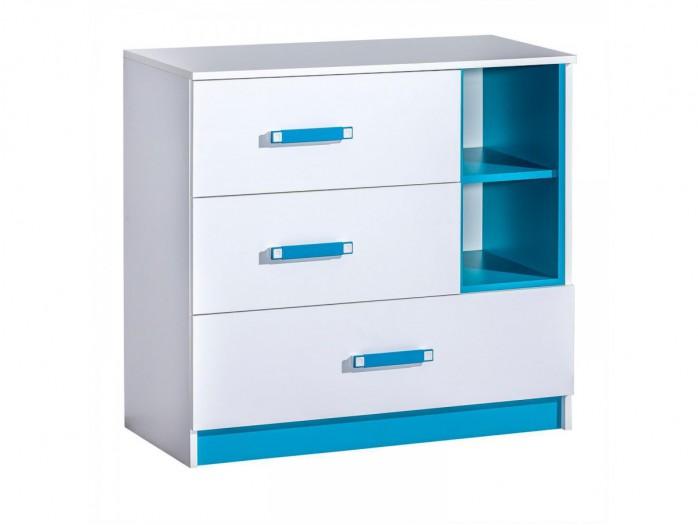 kommode mit 1 t r und 2 schubladen weiss blau 242 95. Black Bedroom Furniture Sets. Home Design Ideas