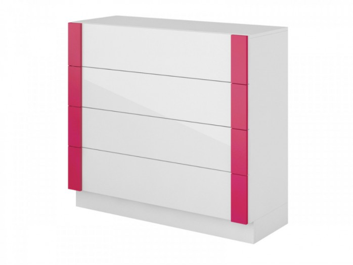 Dresser Y-07 with 4 drawers White/ WhiteGloss / Pink