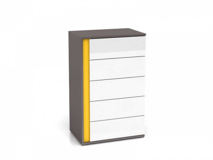 Chest of 5 Drawers Right Grey / White/Yellow