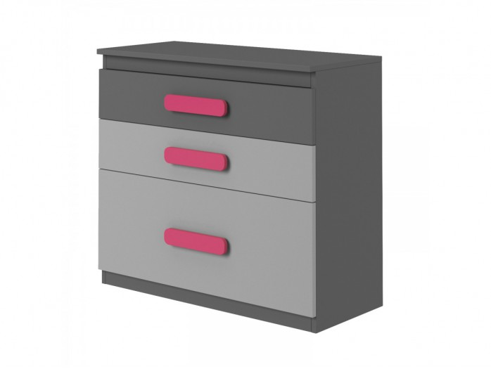 Chest of drawers Play  Anthracite / Grey / Pink