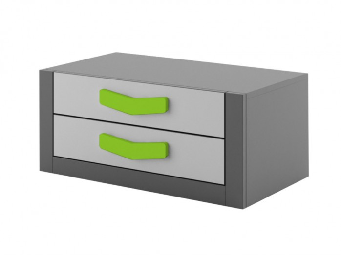 Chest  Boomerang with 2 drawers   Anthracite / Grey / Green