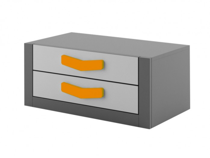 Chest  Boomerang with 2 drawers   Anthracite / Grey / Orange
