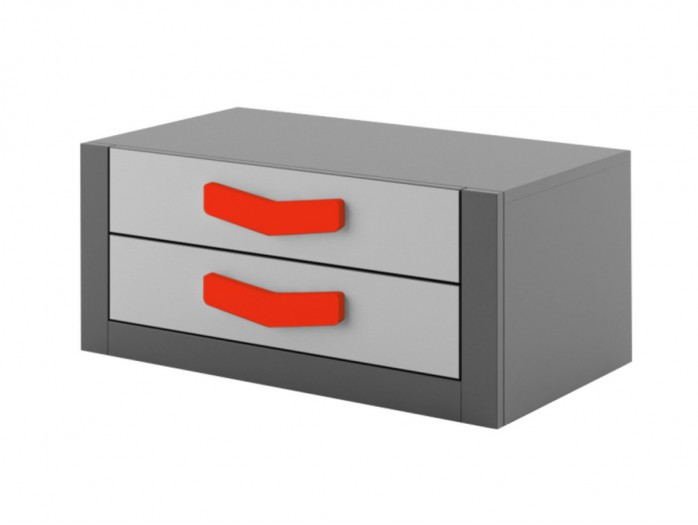 Chest  Boomerang with 2 drawers   Anthracite / Grey / Red