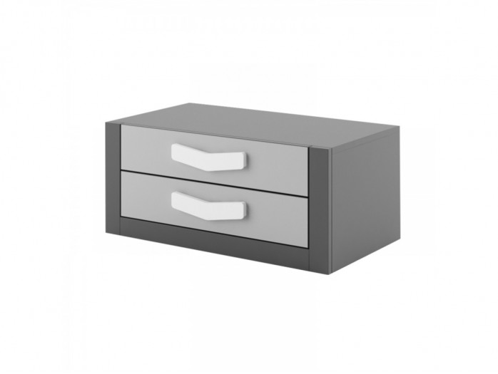 Chest  Boomerang with 2 drawers   Anthracite / Grey / White