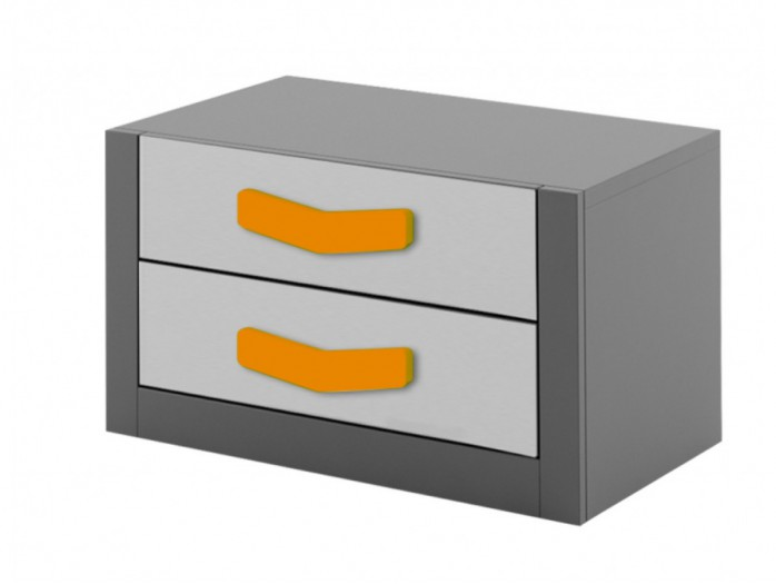 Nightstand  Boomerang with 2 drawers   Anthracite / Grey / Orange