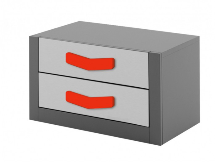Nightstand  Boomerang with 2 drawers   Anthracite / Grey / Red