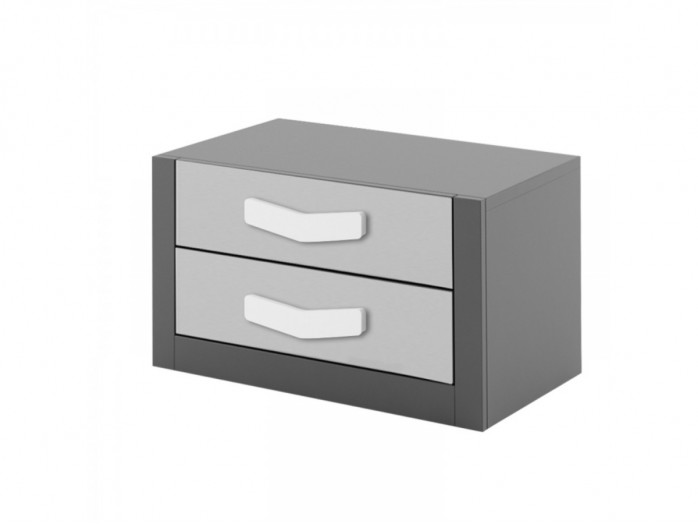 Nightstand  Boomerang with 2 drawers   Anthracite / Grey / White