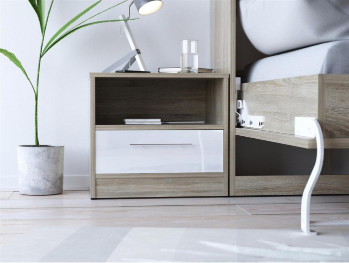 SMART bedside table with drawer Oak sonoma/ White high gloss front
