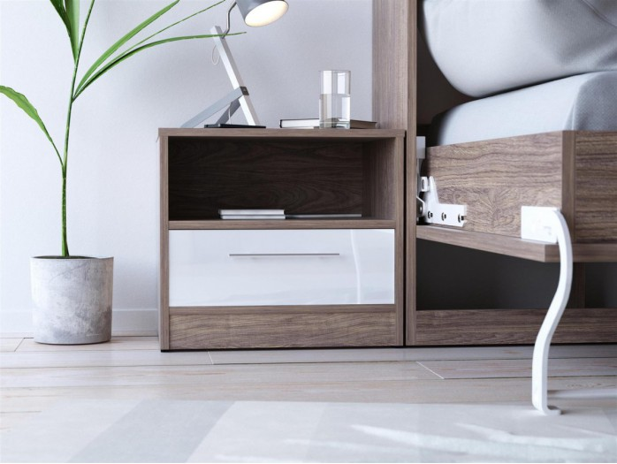 SMART bedside table with drawer Walnut / White high gloss front