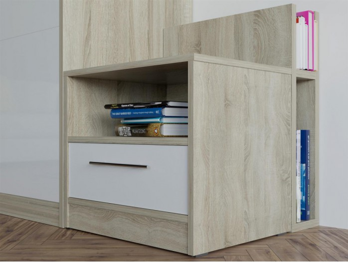 Nightstand Oak Sonoma  SMARTBett folding bed 160x 200cm