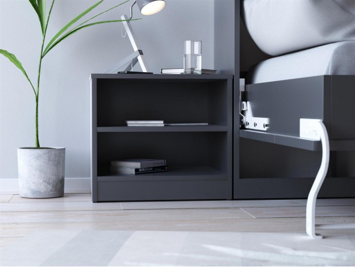 SMART bedside table white Anthracite gray