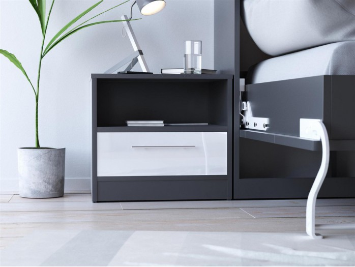 SMART bedside table with drawer Anthracite gray/ White high gloss front
