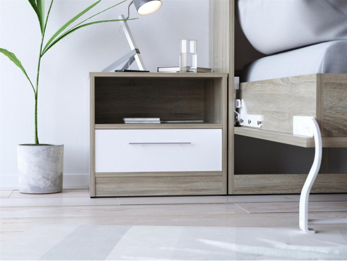 SMART bedside table with drawer Oak Sonoma / White