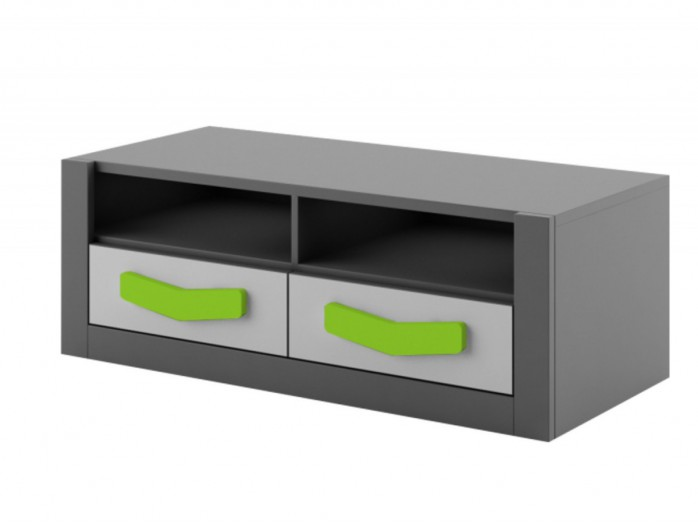 RTV cabinet  Boomerang with 2 drawers   Anthracite / Grey / Green