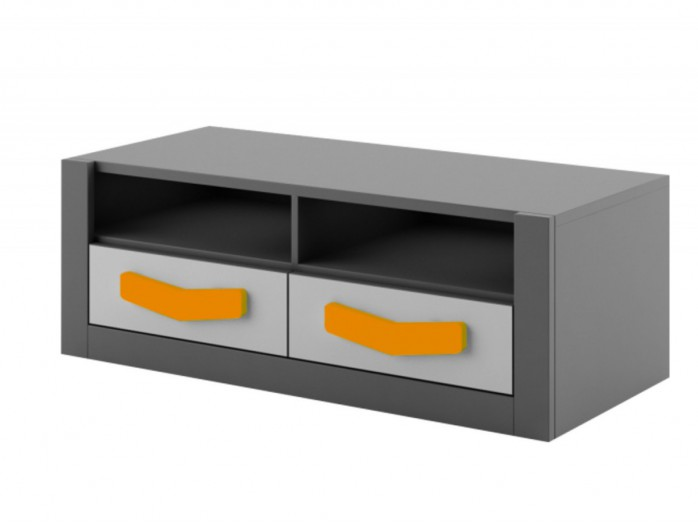 RTV cabinet  Boomerang with 2 drawers   Anthracite / Grey / Orange