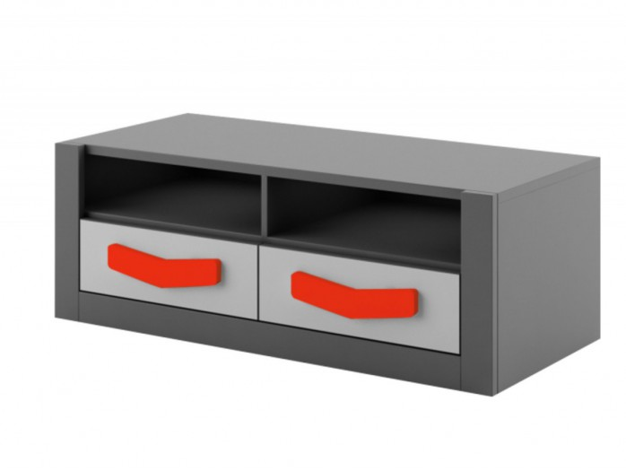 RTV cabinet  Boomerang with 2 drawers   Anthracite / Grey /Red