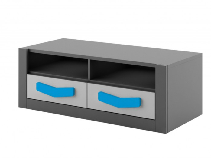 RTV cabinet  Boomerang with 2 drawers   Anthracite / Grey / Turkis