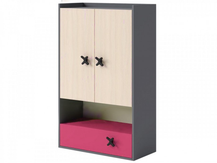 Shelf IKS with 2 doors and drawers Anthracite/ Oak cream / Pink