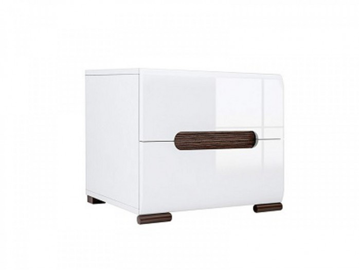 Bedside cabinet Azteca with 2 drawers white/white with gloss front